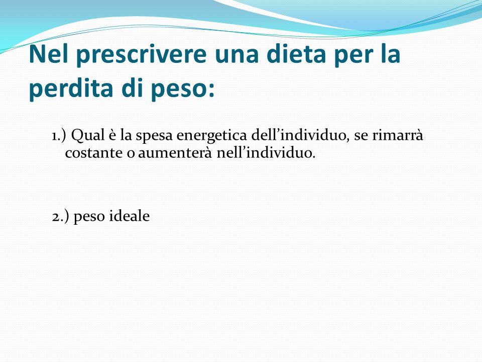 Nel prescrivere una dieta per la perdita di peso: 1.) Qual è la spesa energetica dellindividuo, se rimarrà costante o aumenterà nellindividuo. 2.) pes