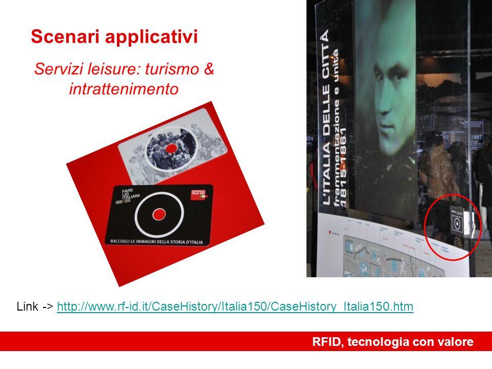 RFID, tecnologia con valore re Scenari applicativi Servizi leisure: turismo & intrattenimento Link -> http://www.rf-id.it/CaseHistory/Italia150/CaseHi