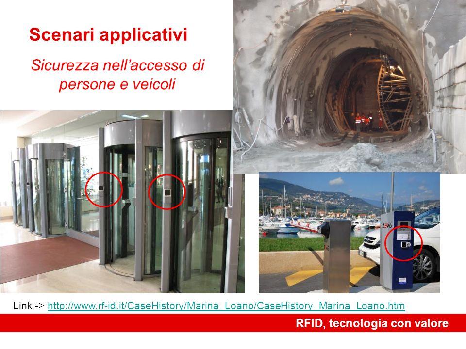 RFID, tecnologia con valore Scenari applicativi Sicurezza nellaccesso di persone e veicoli Link -> http://www.rf-id.it/CaseHistory/Marina_Loano/CaseHi