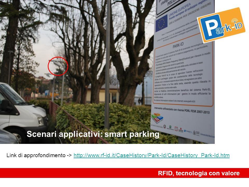 Scenari applicativi: smart parking RFID, tecnologia con valore Link di approfondimento -> http://www.rf-id.it/CaseHistory/Park-Id/CaseHistory_Park-Id.