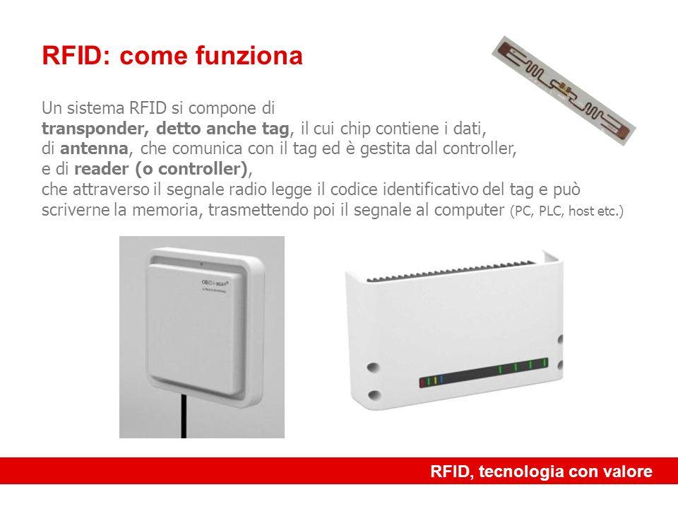 RFID, tecnologia con valore RFID: come funziona Un sistema RFID si compone di transponder, detto anche tag, il cui chip contiene i dati, di antenna, c