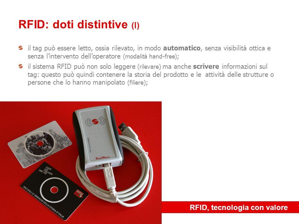 RFID, tecnologia con valore RFID: doti distintive (I) il tag può essere letto, ossia rilevato, in modo automatico, senza visibilità ottica e senza lin