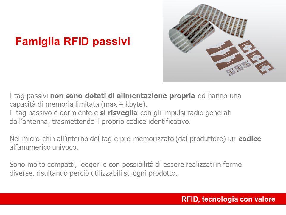 www.rf-id.it Famiglia RFID attivi I tag attivi sono dotati di batterie, hanno grande capacità di memoria (fino a 10 KByte) e consentono grandi velocità di trasmissione dati e grandi distanze di lettura (fino a 500 mt) RFID, tecnologia con valore