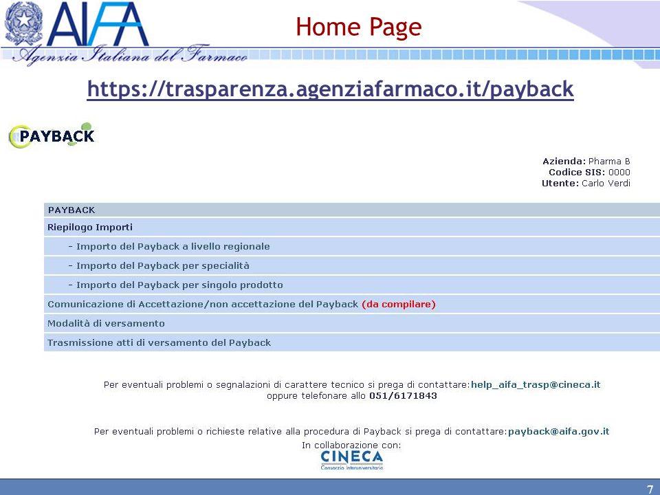 8 Payback Sezione Informativa: Riepilogo importi complessivi