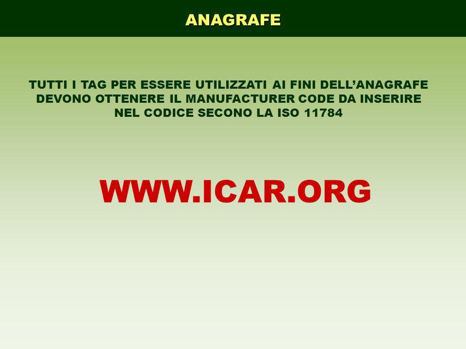 ANAGRAFE TUTTI I TAG PER ESSERE UTILIZZATI AI FINI DELLANAGRAFE DEVONO OTTENERE IL MANUFACTURER CODE DA INSERIRE NEL CODICE SECONO LA ISO 11784 WWW.IC