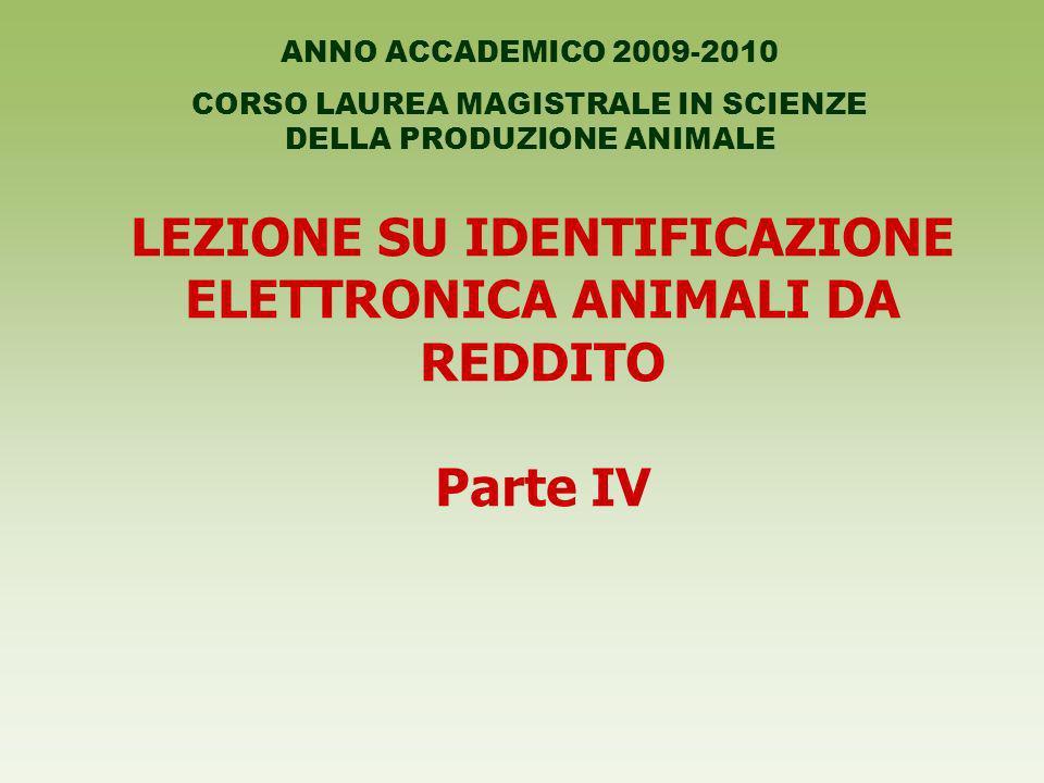 LEZIONE SU IDENTIFICAZIONE ELETTRONICA ANIMALI DA REDDITO Parte IV ANNO ACCADEMICO 2009-2010 CORSO LAUREA MAGISTRALE IN SCIENZE DELLA PRODUZIONE ANIMA