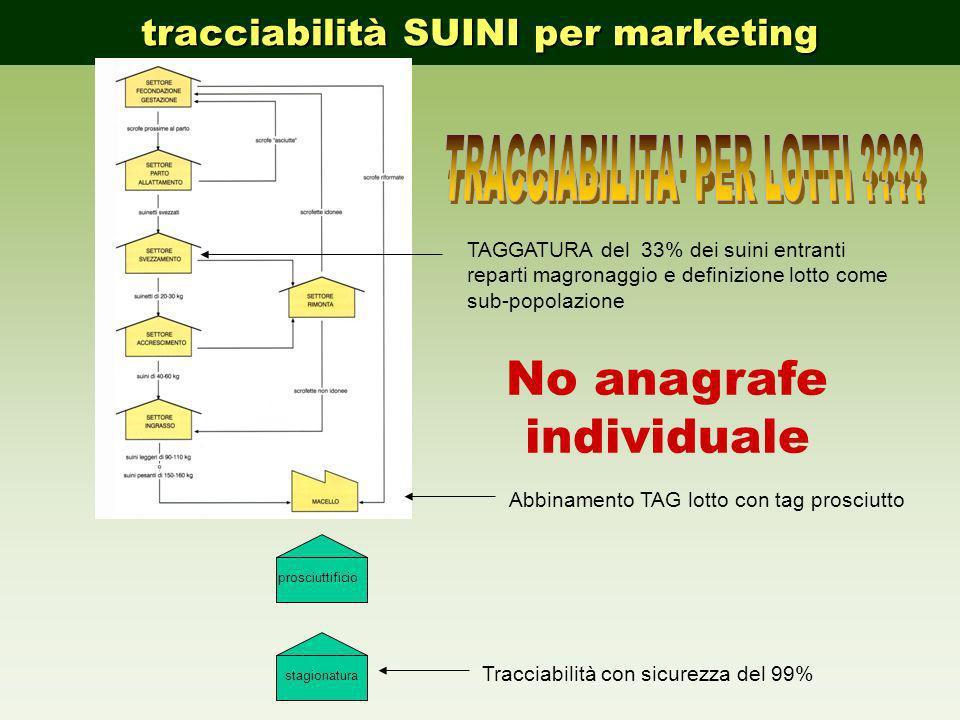 tracciabilità SUINI per marketing prosciuttificiostagionatura TAGGATURA del 33% dei suini entranti reparti magronaggio e definizione lotto come sub-po
