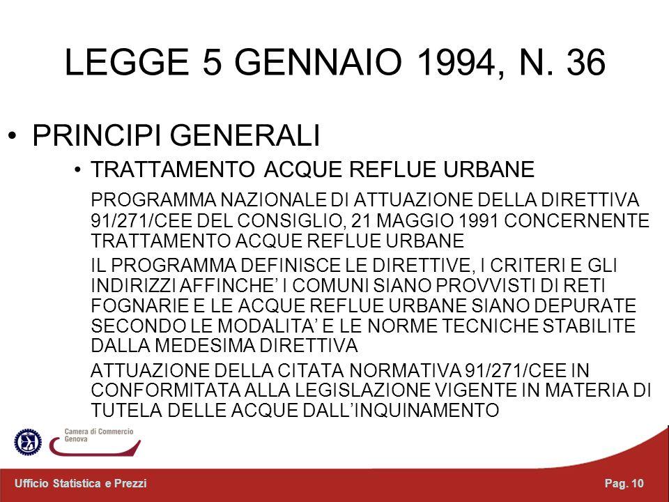 LEGGE 5 GENNAIO 1994, N. 36 PRINCIPI GENERALI TRATTAMENTO ACQUE REFLUE URBANE PROGRAMMA NAZIONALE DI ATTUAZIONE DELLA DIRETTIVA 91/271/CEE DEL CONSIGL