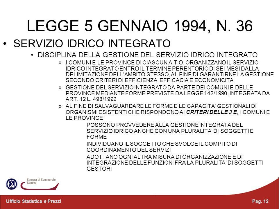LEGGE 5 GENNAIO 1994, N. 36 SERVIZIO IDRICO INTEGRATO DISCIPLINA DELLA GESTIONE DEL SERVIZIO IDRICO INTEGRATO »I COMUNI E LE PROVINCE DI CIASCUN A.T.O