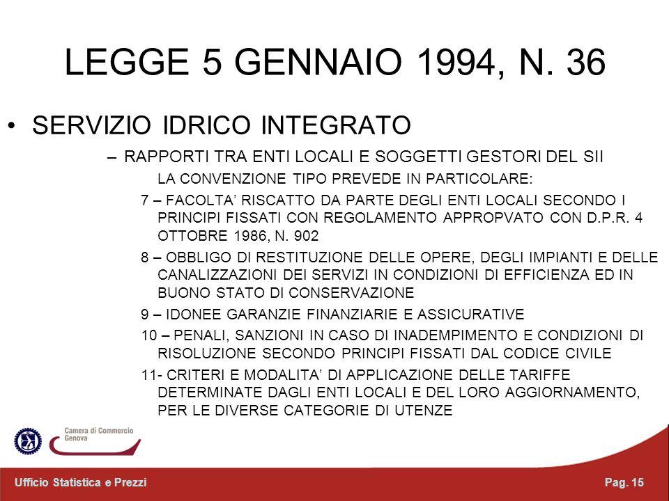 Pag. 15Ufficio Statistica e Prezzi LEGGE 5 GENNAIO 1994, N. 36 SERVIZIO IDRICO INTEGRATO –RAPPORTI TRA ENTI LOCALI E SOGGETTI GESTORI DEL SII LA CONVE