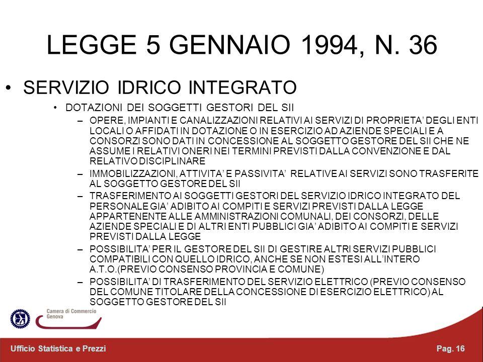 LEGGE 5 GENNAIO 1994, N. 36 SERVIZIO IDRICO INTEGRATO DOTAZIONI DEI SOGGETTI GESTORI DEL SII –OPERE, IMPIANTI E CANALIZZAZIONI RELATIVI AI SERVIZI DI