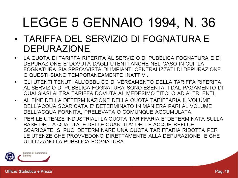LEGGE 5 GENNAIO 1994, N. 36 TARIFFA DEL SERVIZIO DI FOGNATURA E DEPURAZIONE LA QUOTA DI TARIFFA RIFERITA AL SERVIZIO DI PUBBLICA FOGNATURA E DI DEPURA