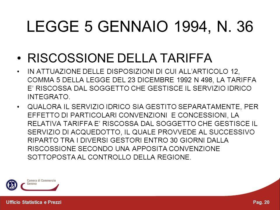 LEGGE 5 GENNAIO 1994, N. 36 RISCOSSIONE DELLA TARIFFA IN ATTUAZIONE DELLE DISPOSIZIONI DI CUI ALLARTICOLO 12, COMMA 5 DELLA LEGGE DEL 23 DICEMBRE 1992
