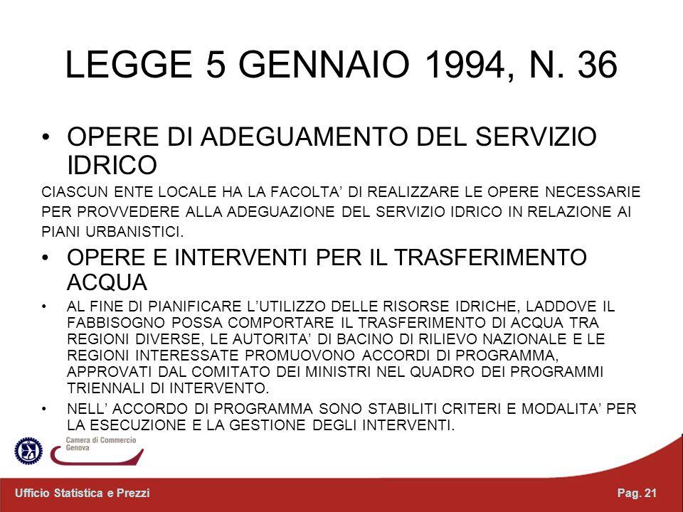 LEGGE 5 GENNAIO 1994, N. 36 OPERE DI ADEGUAMENTO DEL SERVIZIO IDRICO CIASCUN ENTE LOCALE HA LA FACOLTA DI REALIZZARE LE OPERE NECESSARIE PER PROVVEDER
