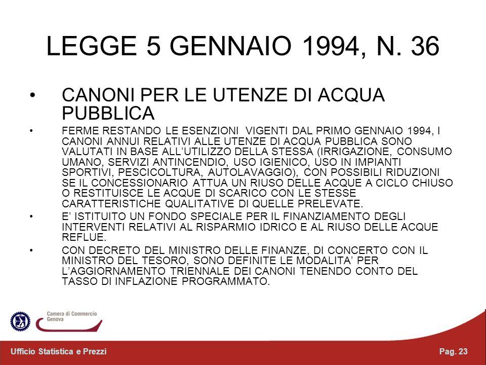 LEGGE 5 GENNAIO 1994, N. 36 CANONI PER LE UTENZE DI ACQUA PUBBLICA FERME RESTANDO LE ESENZIONI VIGENTI DAL PRIMO GENNAIO 1994, I CANONI ANNUI RELATIVI