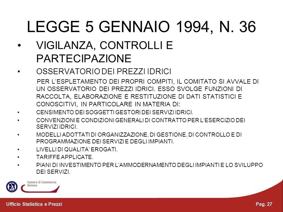 LEGGE 5 GENNAIO 1994, N. 36 VIGILANZA, CONTROLLI E PARTECIPAZIONE OSSERVATORIO DEI PREZZI IDRICI PER LESPLETAMENTO DEI PROPRI COMPITI, IL COMITATO SI