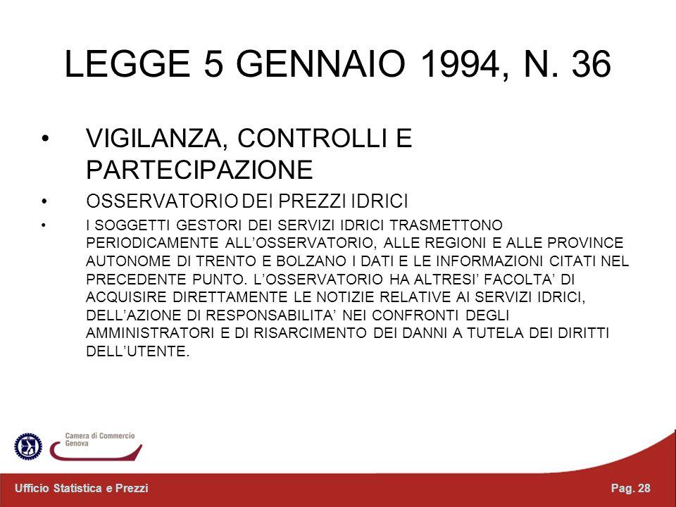LEGGE 5 GENNAIO 1994, N. 36 VIGILANZA, CONTROLLI E PARTECIPAZIONE OSSERVATORIO DEI PREZZI IDRICI I SOGGETTI GESTORI DEI SERVIZI IDRICI TRASMETTONO PER