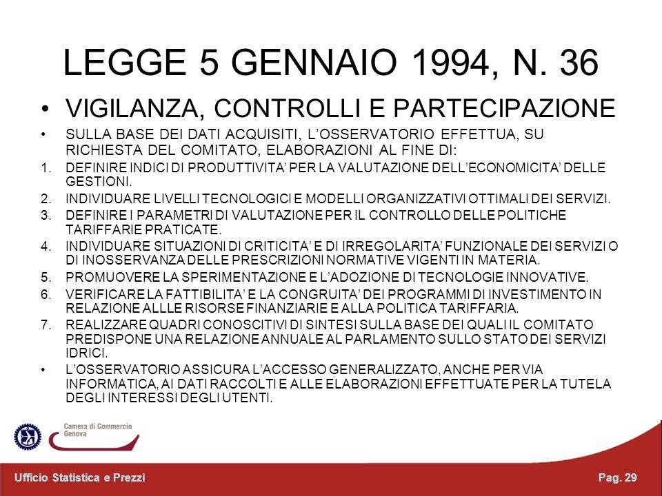 LEGGE 5 GENNAIO 1994, N. 36 VIGILANZA, CONTROLLI E PARTECIPAZIONE SULLA BASE DEI DATI ACQUISITI, LOSSERVATORIO EFFETTUA, SU RICHIESTA DEL COMITATO, EL