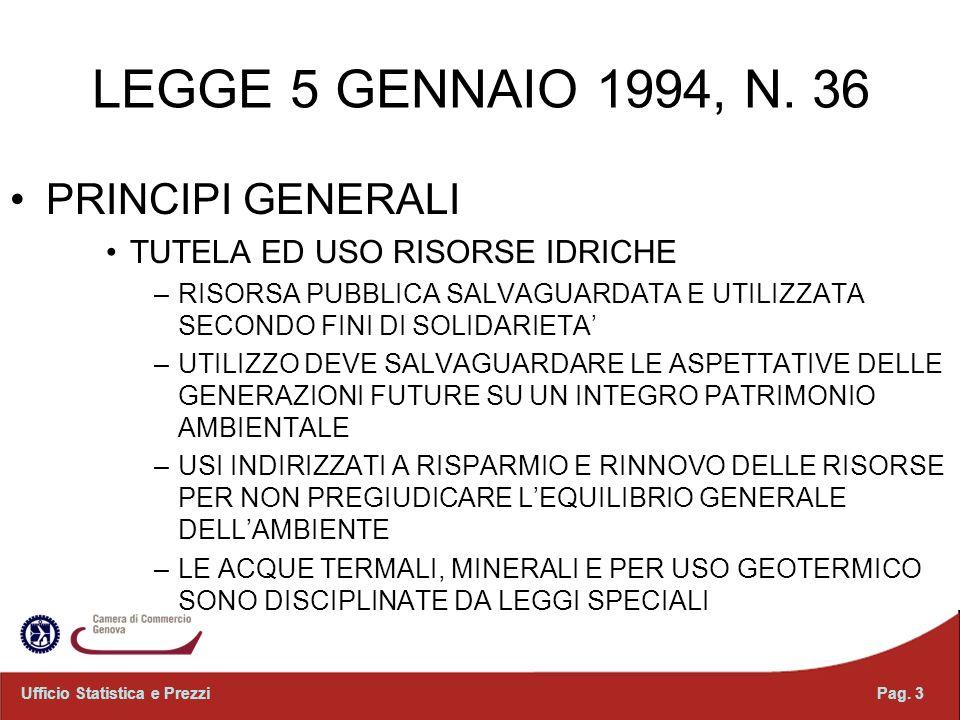 LEGGE 5 GENNAIO 1994, N. 36 PRINCIPI GENERALI TUTELA ED USO RISORSE IDRICHE –RISORSA PUBBLICA SALVAGUARDATA E UTILIZZATA SECONDO FINI DI SOLIDARIETA –