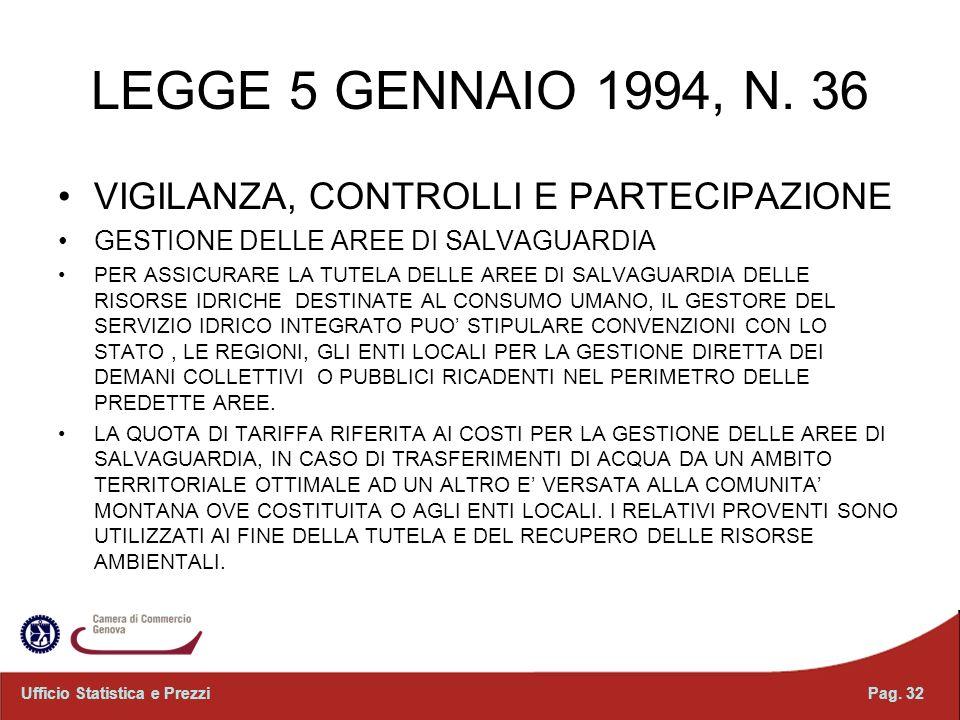LEGGE 5 GENNAIO 1994, N. 36 VIGILANZA, CONTROLLI E PARTECIPAZIONE GESTIONE DELLE AREE DI SALVAGUARDIA PER ASSICURARE LA TUTELA DELLE AREE DI SALVAGUAR