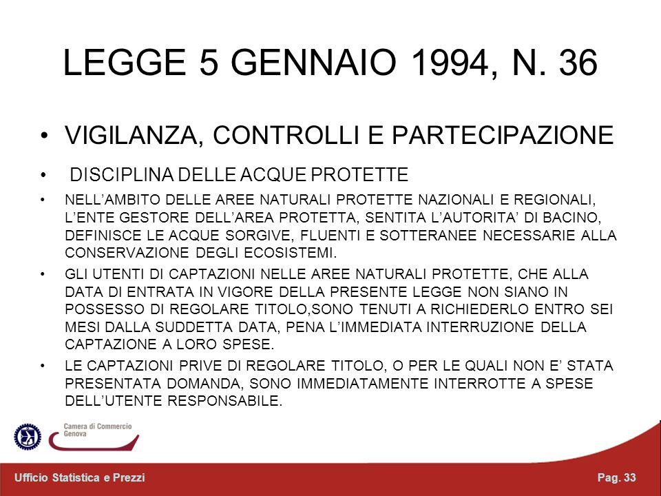 LEGGE 5 GENNAIO 1994, N. 36 VIGILANZA, CONTROLLI E PARTECIPAZIONE DISCIPLINA DELLE ACQUE PROTETTE NELLAMBITO DELLE AREE NATURALI PROTETTE NAZIONALI E