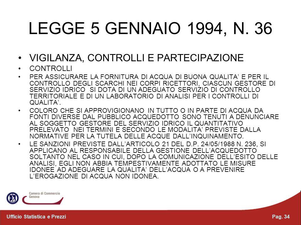 LEGGE 5 GENNAIO 1994, N. 36 VIGILANZA, CONTROLLI E PARTECIPAZIONE CONTROLLI PER ASSICURARE LA FORNITURA DI ACQUA DI BUONA QUALITA E PER IL CONTROLLO D