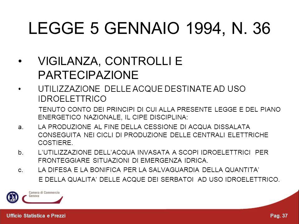 LEGGE 5 GENNAIO 1994, N. 36 VIGILANZA, CONTROLLI E PARTECIPAZIONE UTILIZZAZIONE DELLE ACQUE DESTINATE AD USO IDROELETTRICO TENUTO CONTO DEI PRINCIPI D
