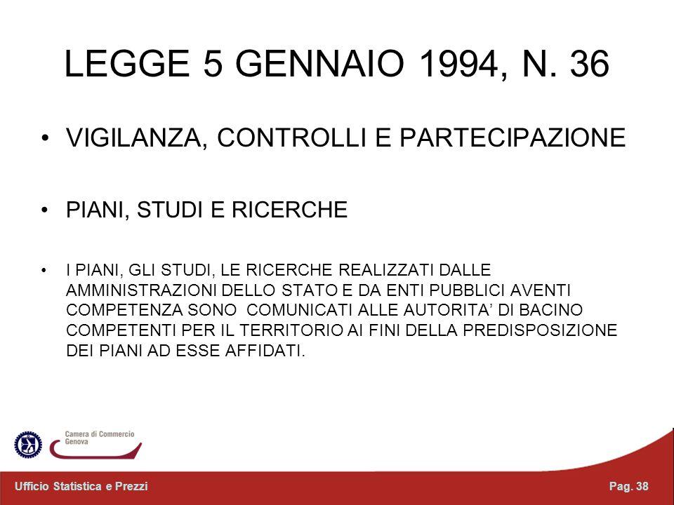 LEGGE 5 GENNAIO 1994, N. 36 VIGILANZA, CONTROLLI E PARTECIPAZIONE PIANI, STUDI E RICERCHE I PIANI, GLI STUDI, LE RICERCHE REALIZZATI DALLE AMMINISTRAZ