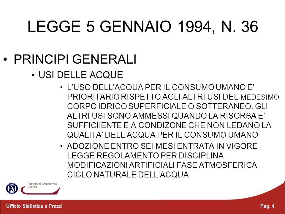 LEGGE 5 GENNAIO 1994, N. 36 PRINCIPI GENERALI USI DELLE ACQUE LUSO DELLACQUA PER IL CONSUMO UMANO E PRIORITARIO RISPETTO AGLI ALTRI USI DEL MEDESIMO C
