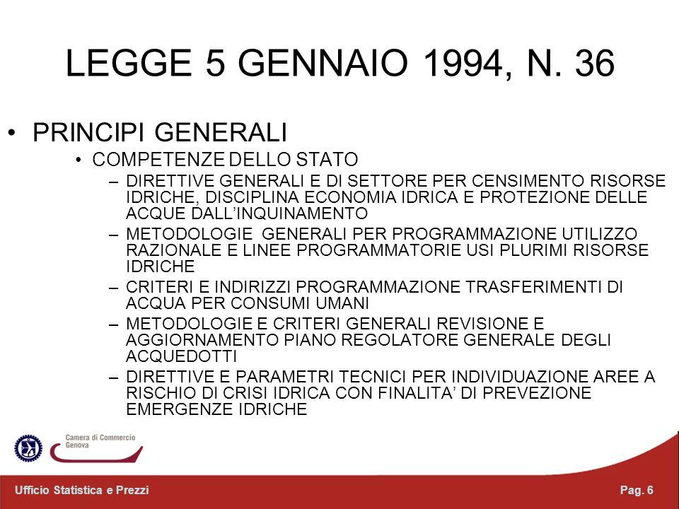 LEGGE 5 GENNAIO 1994, N. 36 PRINCIPI GENERALI COMPETENZE DELLO STATO –DIRETTIVE GENERALI E DI SETTORE PER CENSIMENTO RISORSE IDRICHE, DISCIPLINA ECONO