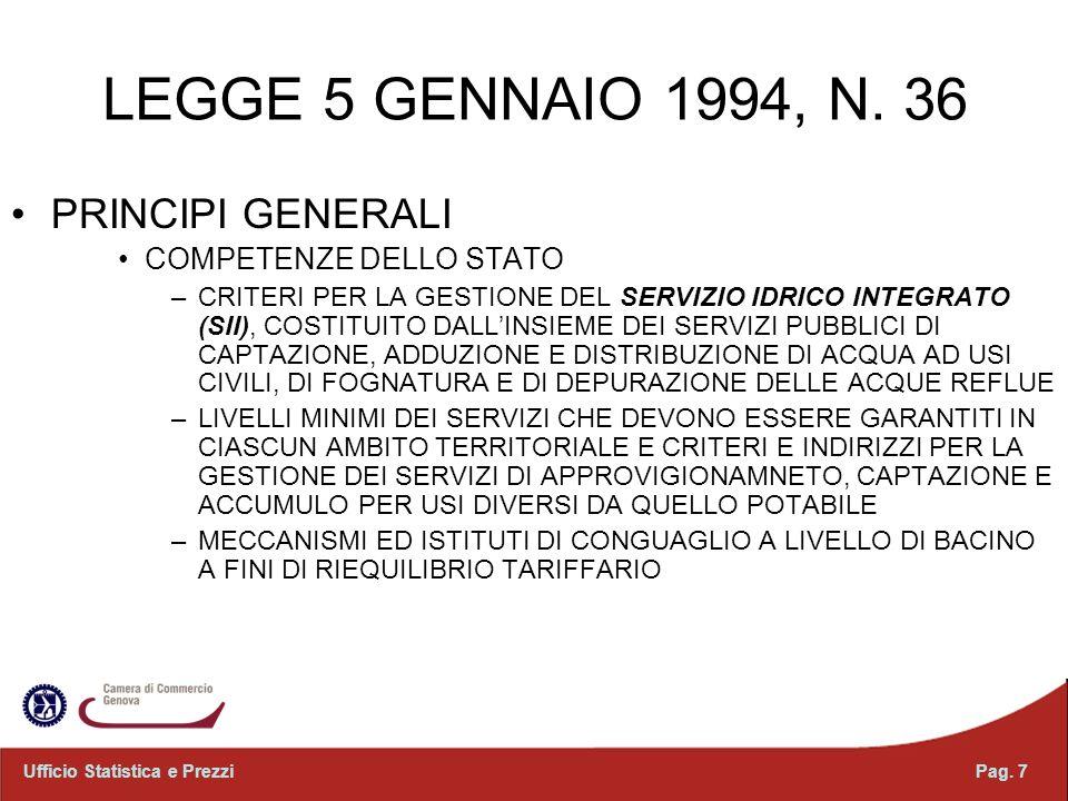 LEGGE 5 GENNAIO 1994, N. 36 PRINCIPI GENERALI COMPETENZE DELLO STATO –CRITERI PER LA GESTIONE DEL SERVIZIO IDRICO INTEGRATO (SII), COSTITUITO DALLINSI