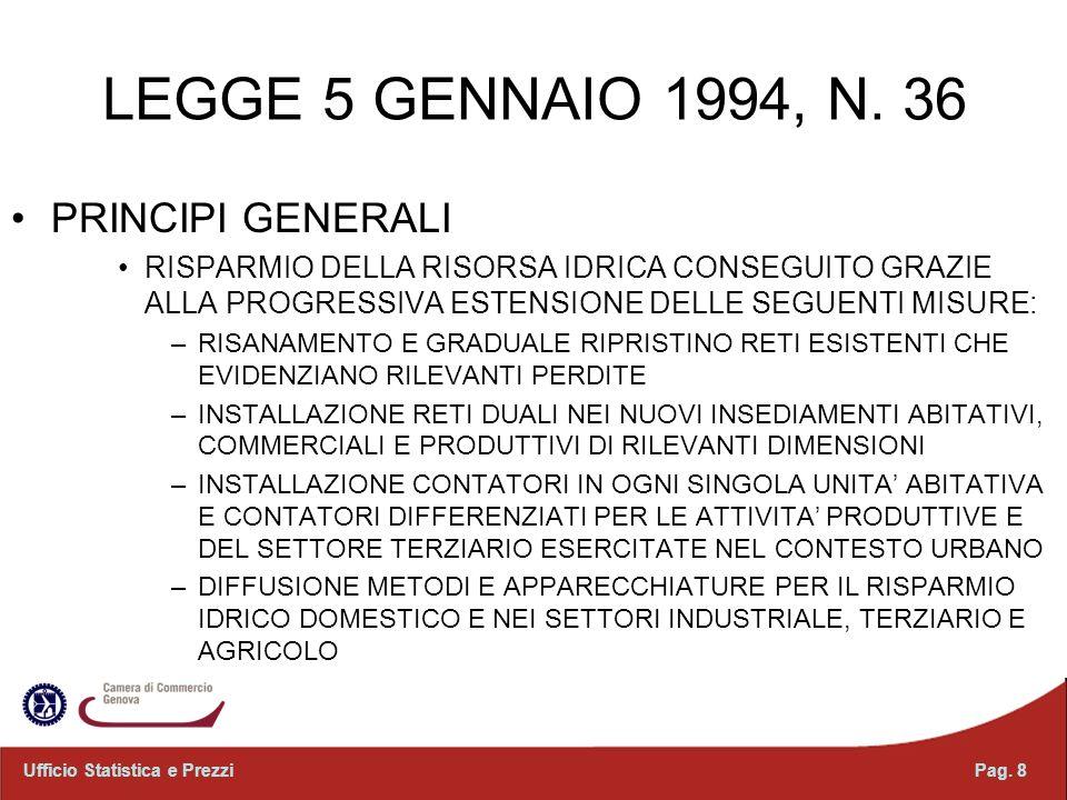 LEGGE 5 GENNAIO 1994, N. 36 PRINCIPI GENERALI RISPARMIO DELLA RISORSA IDRICA CONSEGUITO GRAZIE ALLA PROGRESSIVA ESTENSIONE DELLE SEGUENTI MISURE: –RIS