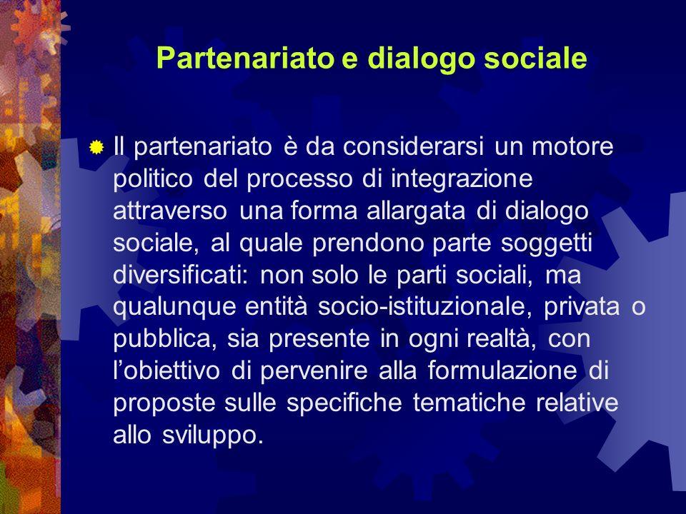 Partenariato e dialogo sociale Il partenariato è da considerarsi un motore politico del processo di integrazione attraverso una forma allargata di dialogo sociale, al quale prendono parte soggetti diversificati: non solo le parti sociali, ma qualunque entità socio-istituzionale, privata o pubblica, sia presente in ogni realtà, con lobiettivo di pervenire alla formulazione di proposte sulle specifiche tematiche relative allo sviluppo.