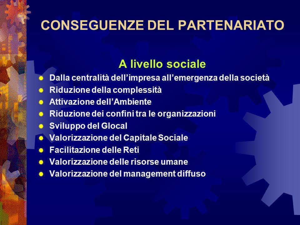 CONSEGUENZE DEL PARTENARIATO A livello sociale Dalla centralità dellimpresa allemergenza della società Riduzione della complessità Attivazione dellAmb