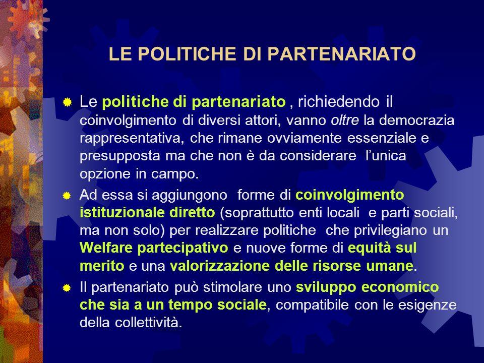 LE POLITICHE DI PARTENARIATO Le politiche di partenariato, richiedendo il coinvolgimento di diversi attori, vanno oltre la democrazia rappresentativa,