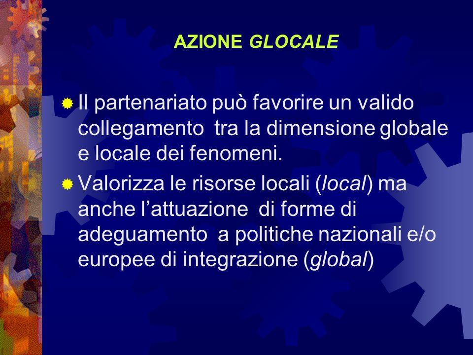 AZIONE GLOCALE Il partenariato può favorire un valido collegamento tra la dimensione globale e locale dei fenomeni. Valorizza le risorse locali (local