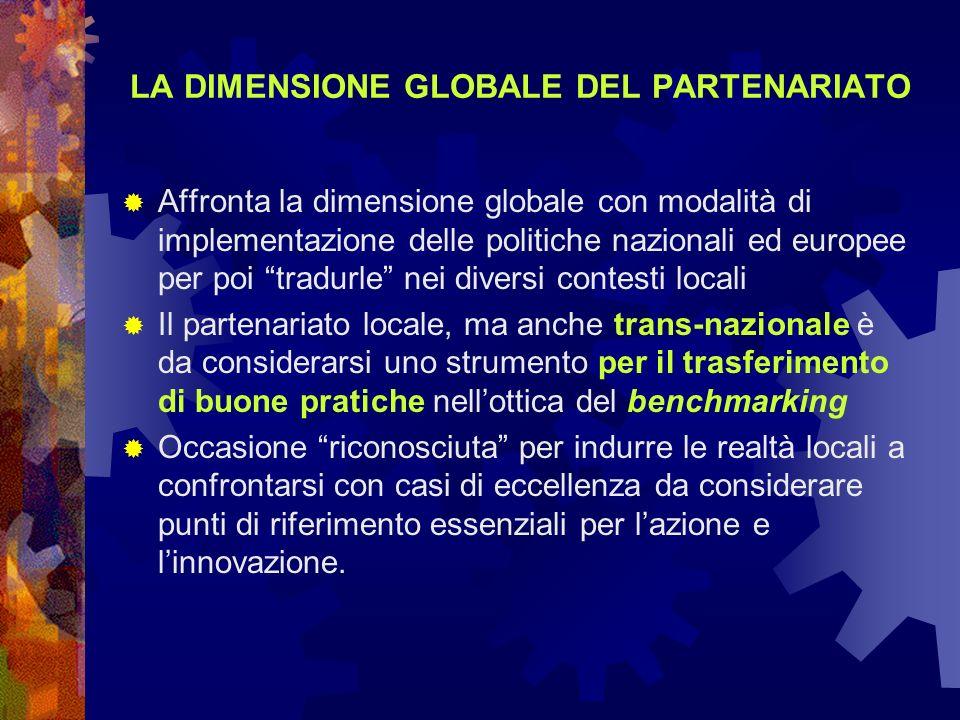 LA DIMENSIONE GLOBALE DEL PARTENARIATO Affronta la dimensione globale con modalità di implementazione delle politiche nazionali ed europee per poi tra