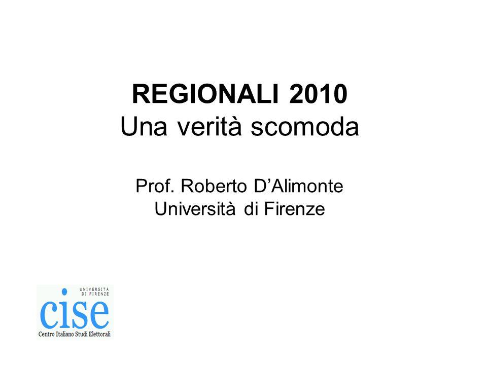 REGIONALI 2010 Una verità scomoda Prof. Roberto DAlimonte Università di Firenze
