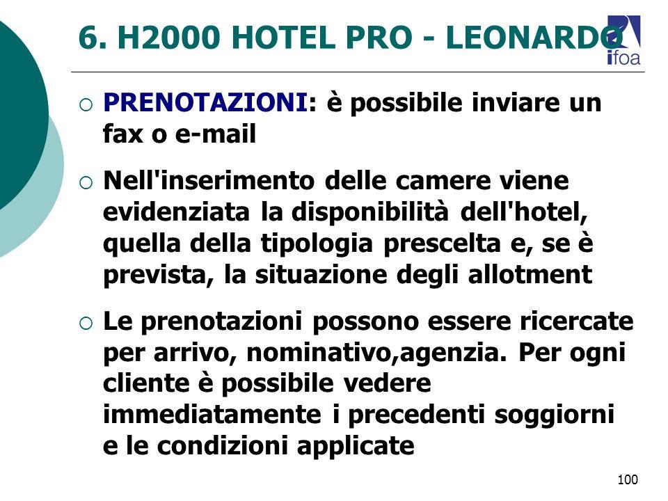 100 6. H2000 HOTEL PRO - LEONARDO PRENOTAZIONI: è possibile inviare un fax o e-mail Nell'inserimento delle camere viene evidenziata la disponibilità d