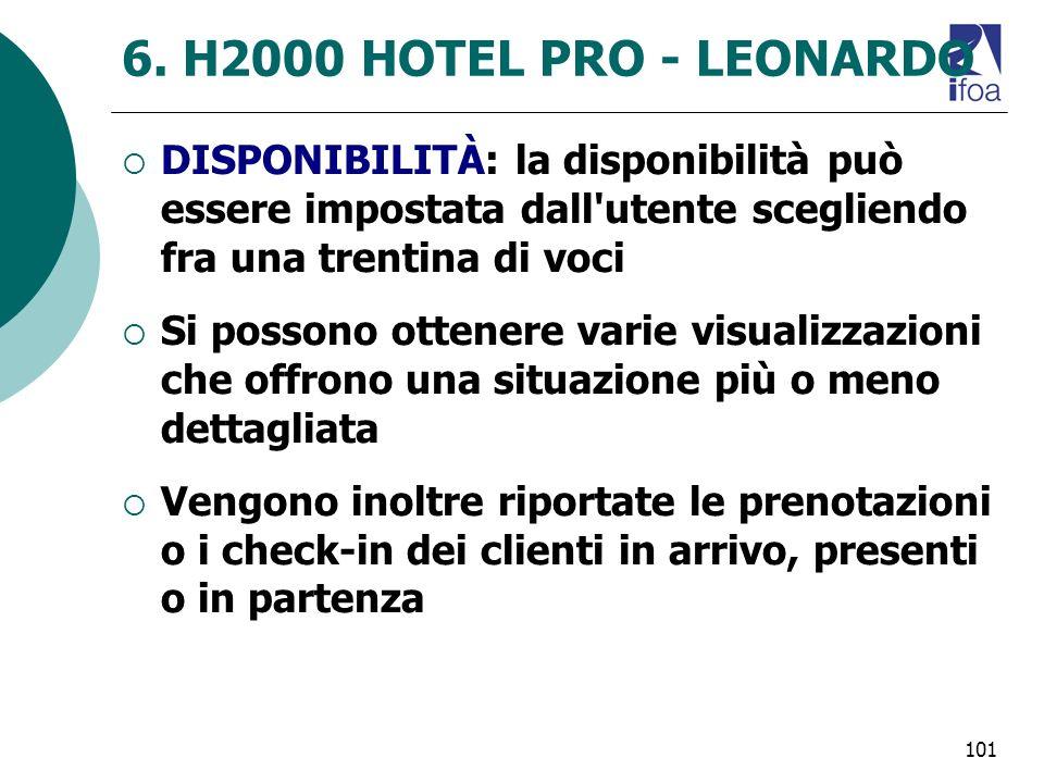 101 6. H2000 HOTEL PRO - LEONARDO DISPONIBILITÀ: la disponibilità può essere impostata dall'utente scegliendo fra una trentina di voci Si possono otte