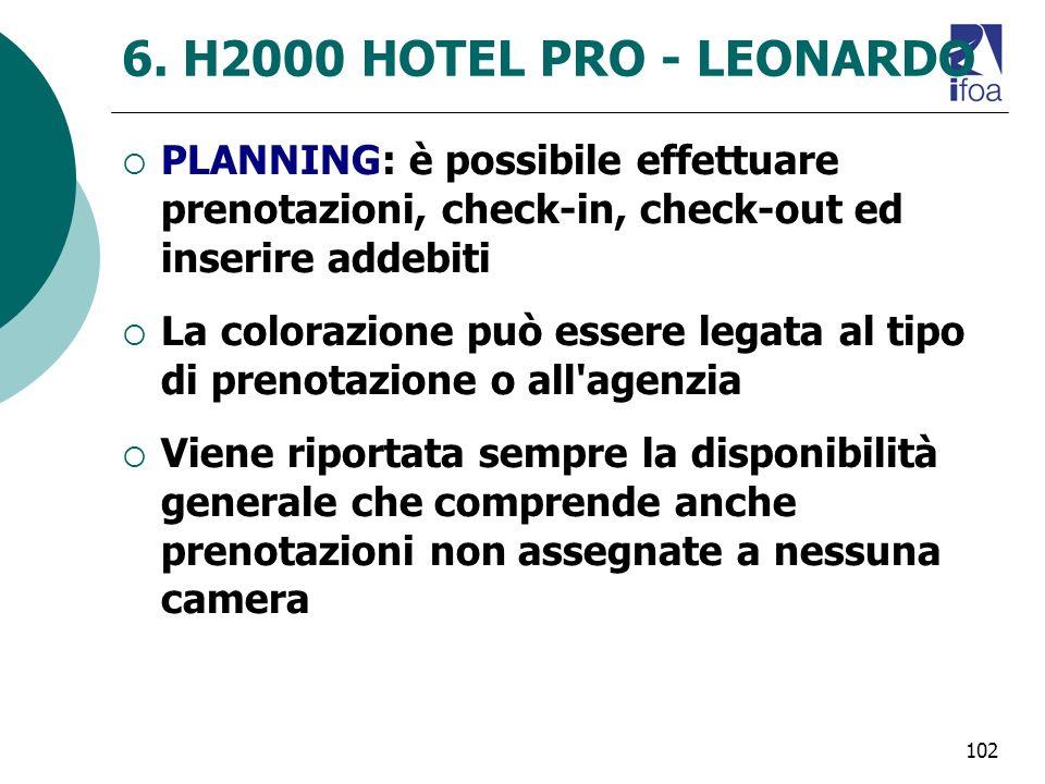 102 6. H2000 HOTEL PRO - LEONARDO PLANNING: è possibile effettuare prenotazioni, check-in, check-out ed inserire addebiti La colorazione può essere le
