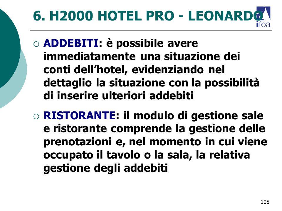 105 6. H2000 HOTEL PRO - LEONARDO ADDEBITI: è possibile avere immediatamente una situazione dei conti dellhotel, evidenziando nel dettaglio la situazi