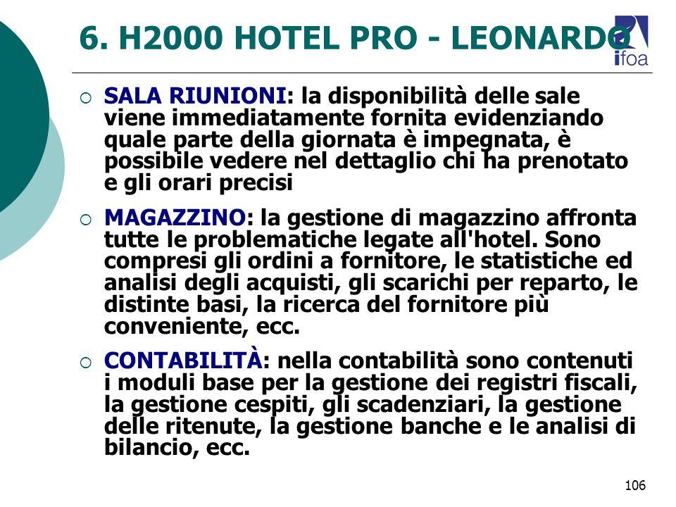 106 6. H2000 HOTEL PRO - LEONARDO SALA RIUNIONI: la disponibilità delle sale viene immediatamente fornita evidenziando quale parte della giornata è im