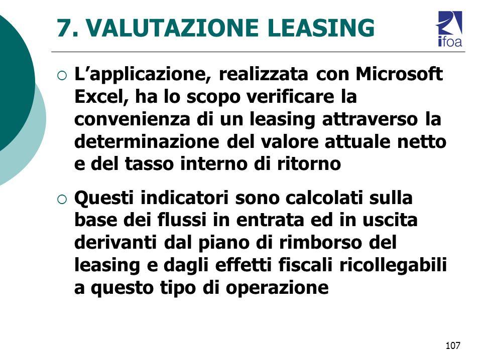107 7. VALUTAZIONE LEASING Lapplicazione, realizzata con Microsoft Excel, ha lo scopo verificare la convenienza di un leasing attraverso la determinaz