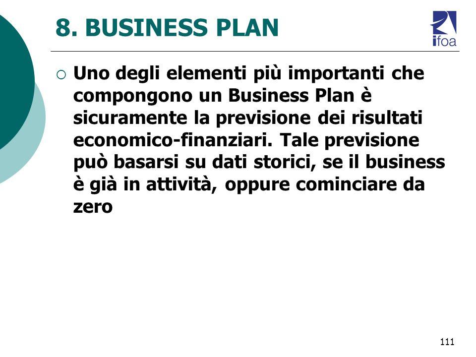 111 8. BUSINESS PLAN Uno degli elementi più importanti che compongono un Business Plan è sicuramente la previsione dei risultati economico-finanziari.