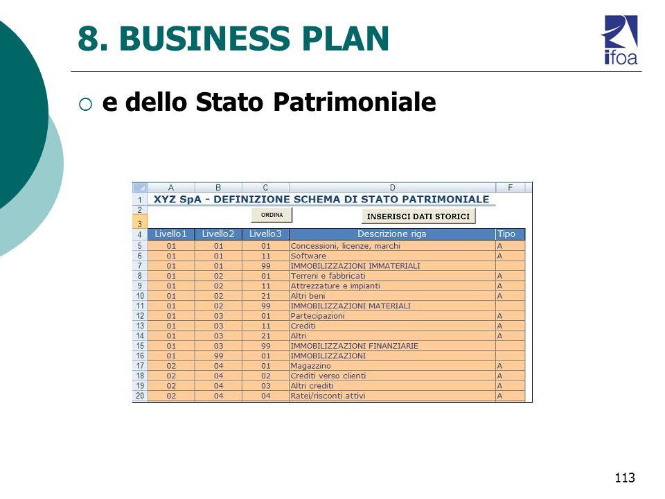 113 8. BUSINESS PLAN e dello Stato Patrimoniale