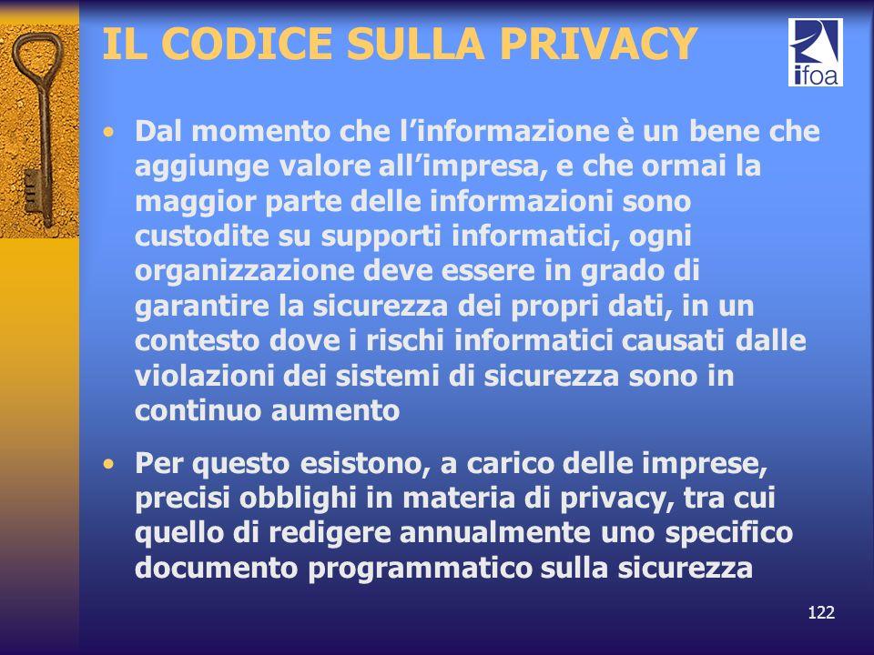 122 IL CODICE SULLA PRIVACY Dal momento che linformazione è un bene che aggiunge valore allimpresa, e che ormai la maggior parte delle informazioni so