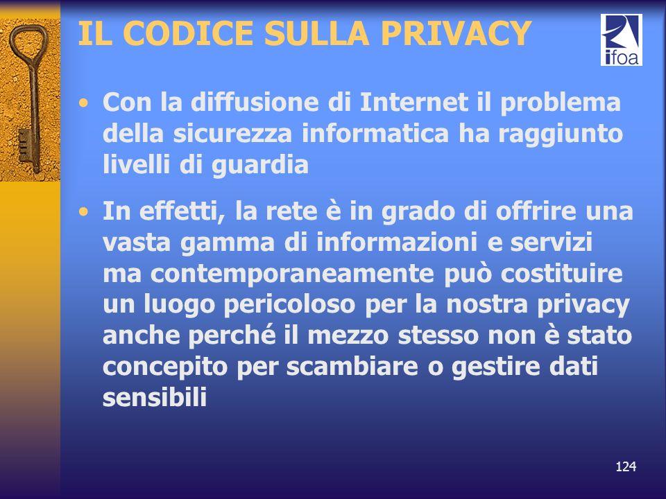 124 IL CODICE SULLA PRIVACY Con la diffusione di Internet il problema della sicurezza informatica ha raggiunto livelli di guardia In effetti, la rete