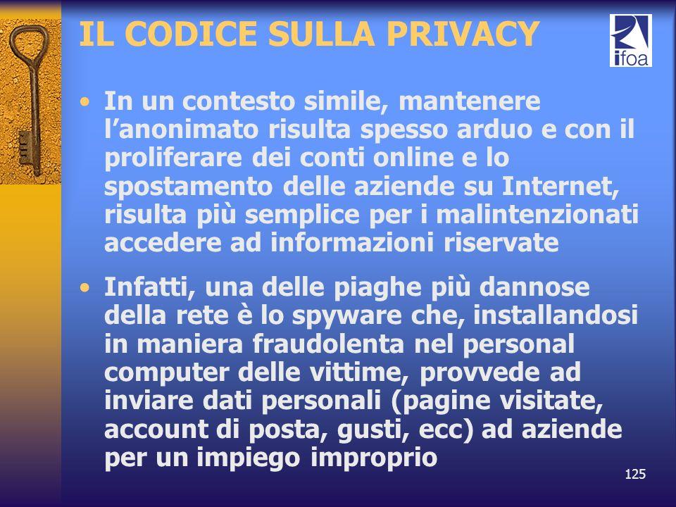 125 IL CODICE SULLA PRIVACY In un contesto simile, mantenere lanonimato risulta spesso arduo e con il proliferare dei conti online e lo spostamento de
