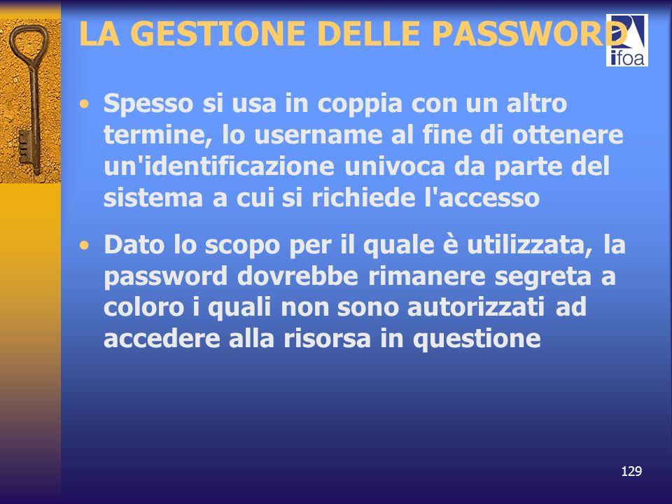129 LA GESTIONE DELLE PASSWORD Spesso si usa in coppia con un altro termine, lo username al fine di ottenere un'identificazione univoca da parte del s